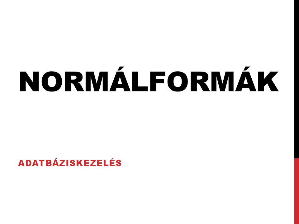 Normálformák Adatbáziskezelés