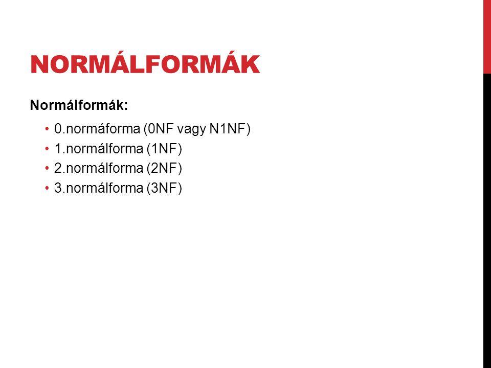 Normálformák Normálformák: 0.normáforma (0NF vagy N1NF)