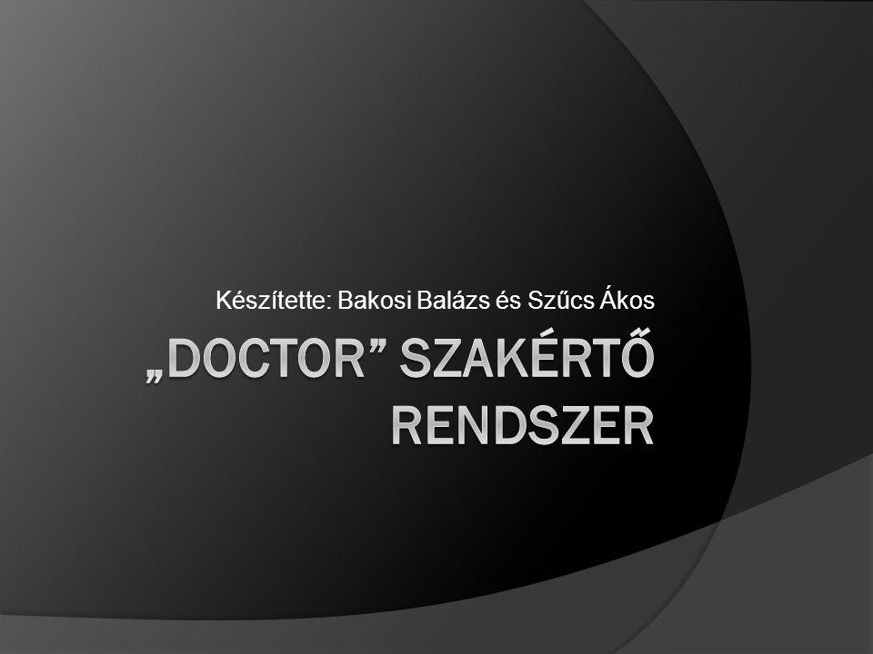 """""""Doctor szakértő rendszer"""
