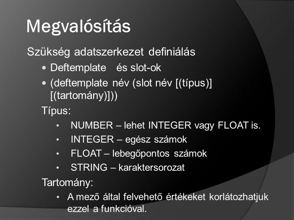 Megvalósítás Szükség adatszerkezet definiálás Deftemplate és slot-ok
