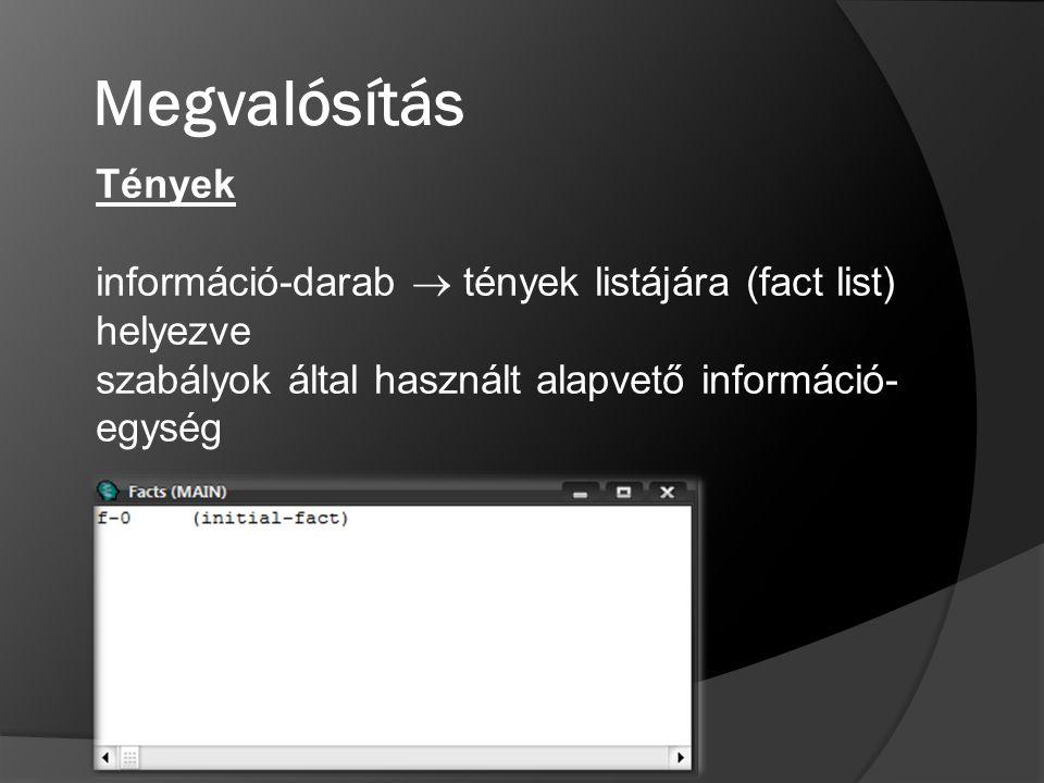 Megvalósítás Tények. információ-darab  tények listájára (fact list) helyezve.