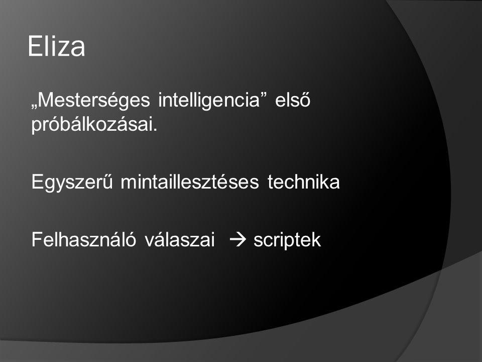 """Eliza """"Mesterséges intelligencia első próbálkozásai."""