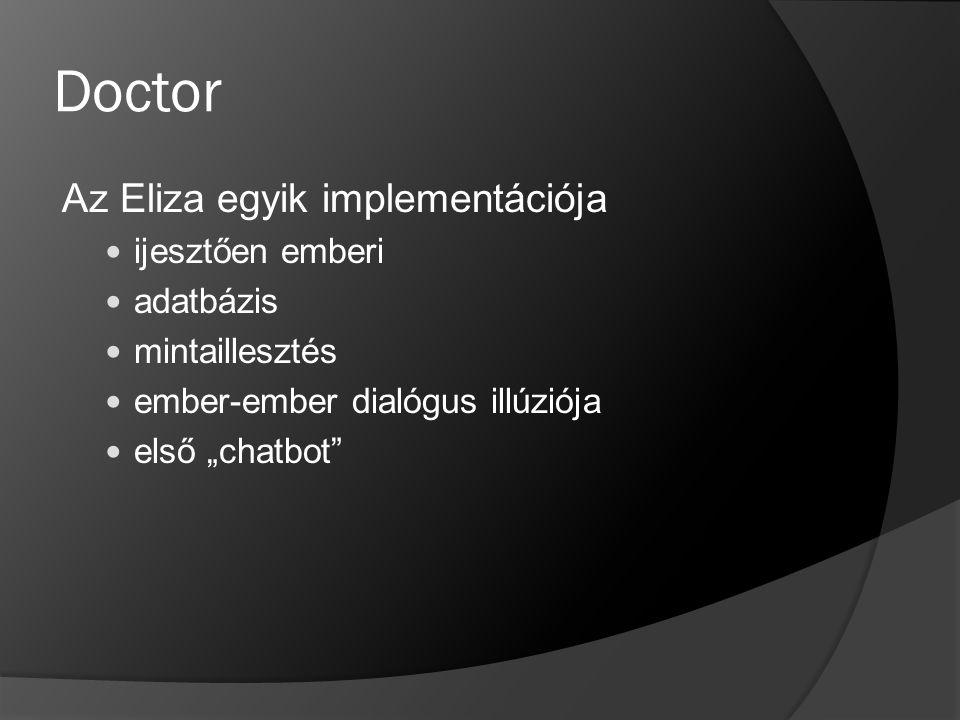 Doctor Az Eliza egyik implementációja ijesztően emberi adatbázis