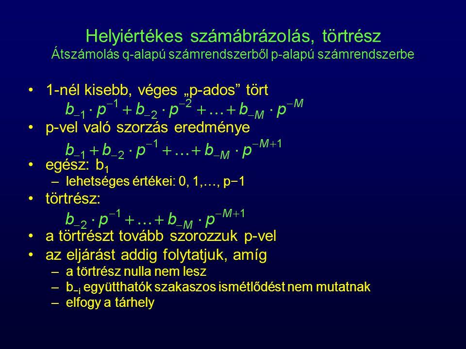 Helyiértékes számábrázolás, törtrész Átszámolás q-alapú számrendszerből p-alapú számrendszerbe