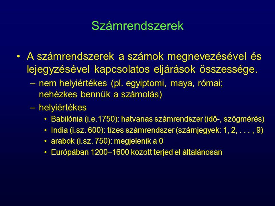 Számrendszerek A számrendszerek a számok megnevezésével és lejegyzésével kapcsolatos eljárások összessége.