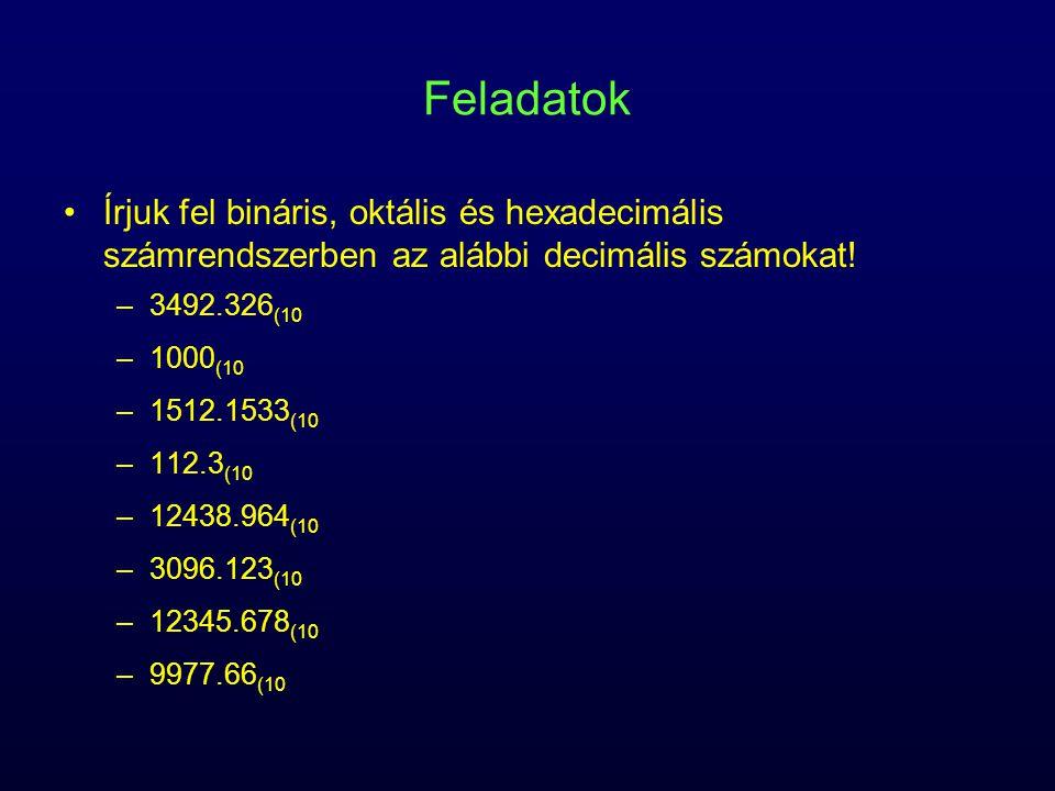Feladatok Írjuk fel bináris, oktális és hexadecimális számrendszerben az alábbi decimális számokat!