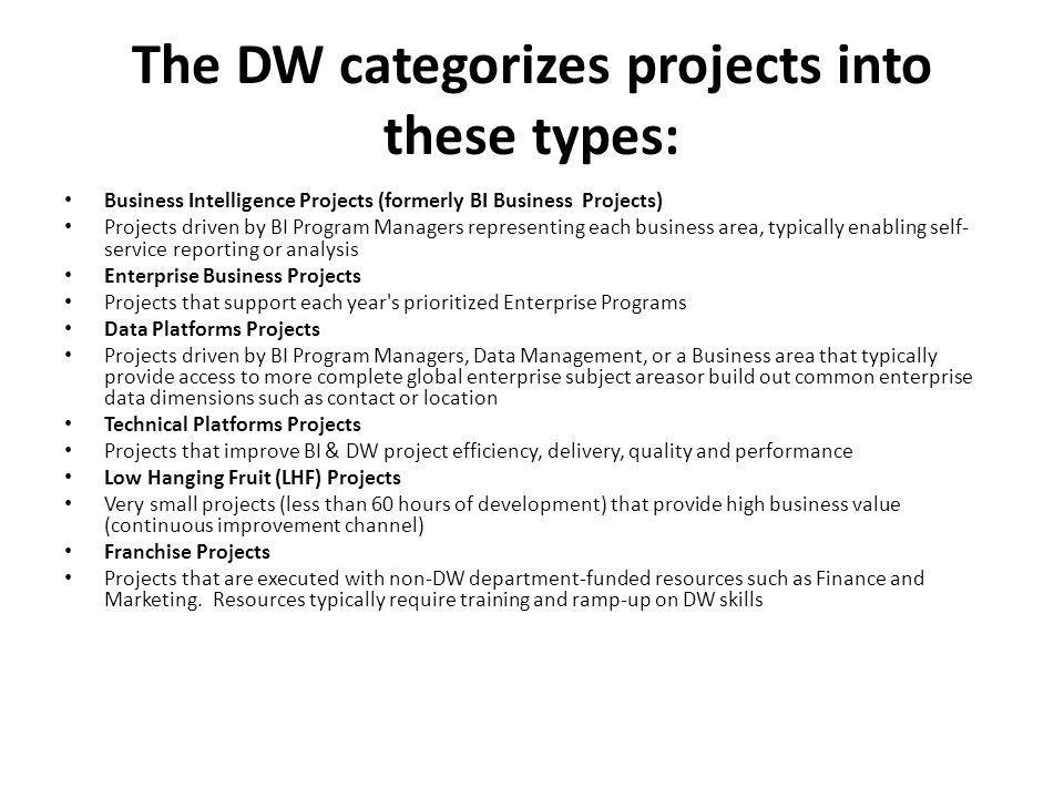 The DW categorizes projects into these types: