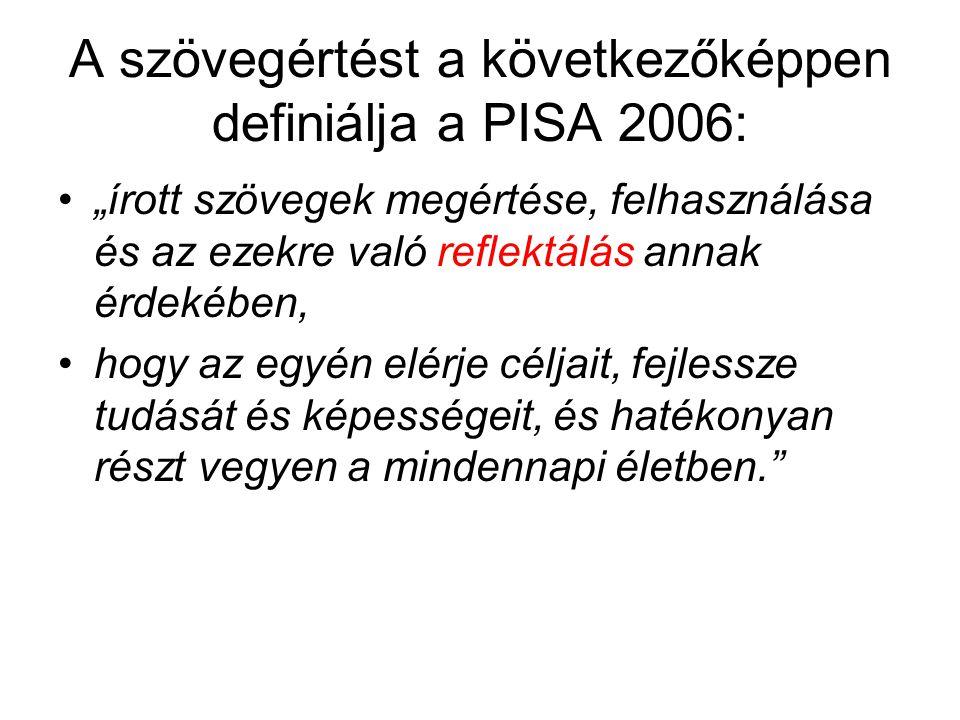 A szövegértést a következőképpen definiálja a PISA 2006: