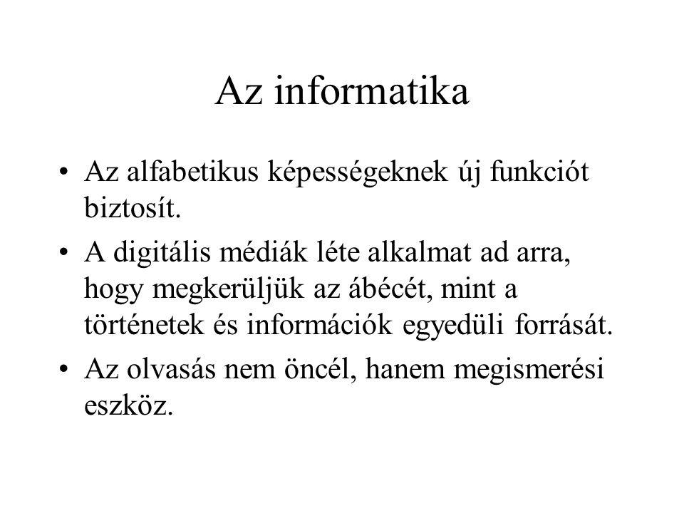 Az informatika Az alfabetikus képességeknek új funkciót biztosít.