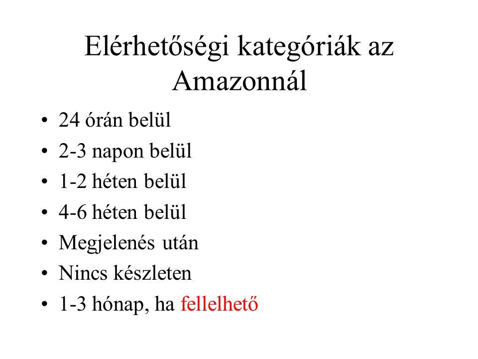 Elérhetőségi kategóriák az Amazonnál