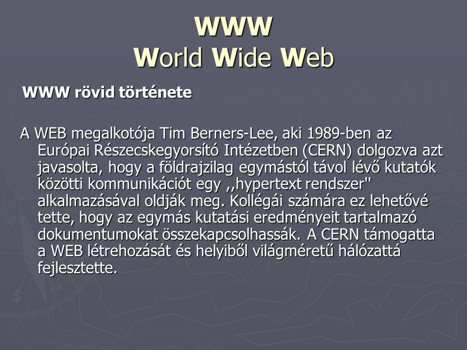 WWW World Wide Web WWW rövid története.