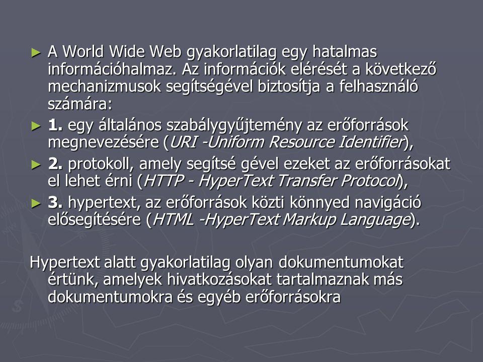 A World Wide Web gyakorlatilag egy hatalmas információhalmaz