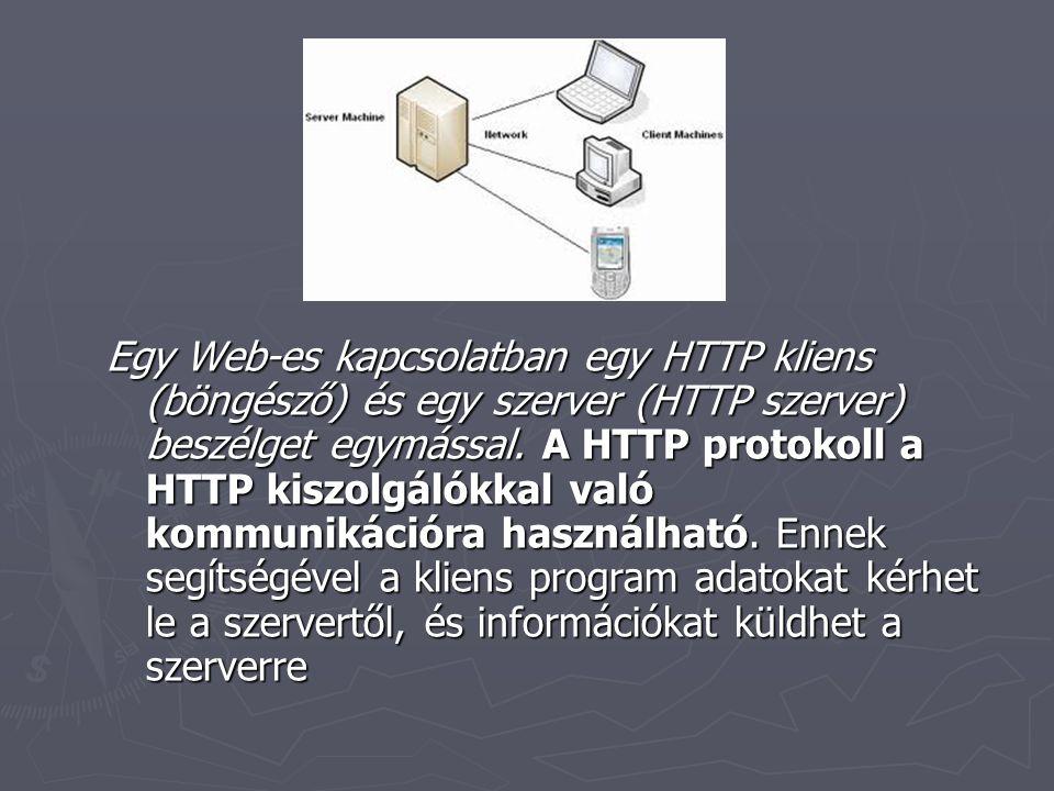 Egy Web-es kapcsolatban egy HTTP kliens (böngésző) és egy szerver (HTTP szerver) beszélget egymással.