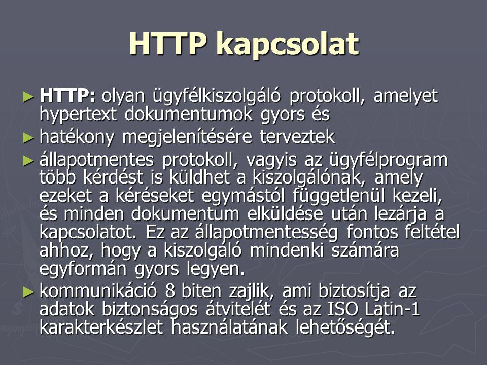 HTTP kapcsolat HTTP: olyan ügyfélkiszolgáló protokoll, amelyet hypertext dokumentumok gyors és. hatékony megjelenítésére terveztek.