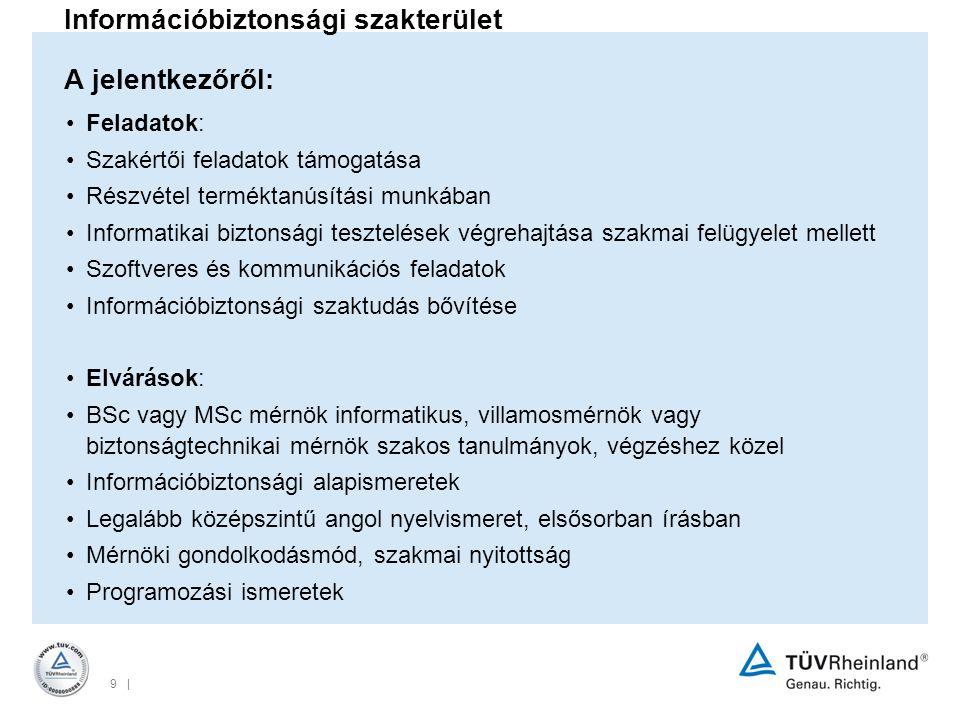 Információbiztonsági szakterület A jelentkezőről: