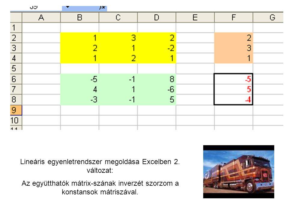 Lineáris egyenletrendszer megoldása Excelben 2. változat: