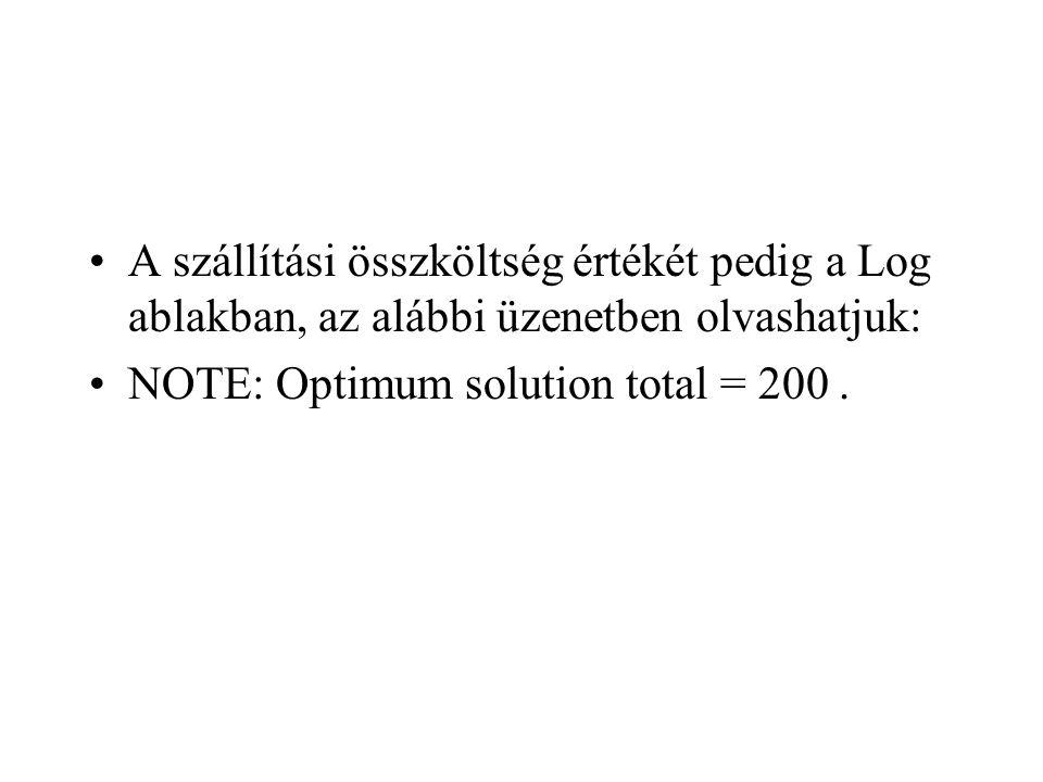 A szállítási összköltség értékét pedig a Log ablakban, az alábbi üzenetben olvashatjuk:
