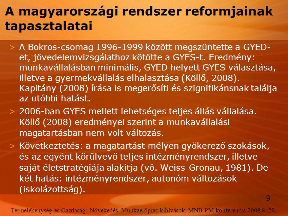 A magyarországi rendszer reformjainak tapasztalatai