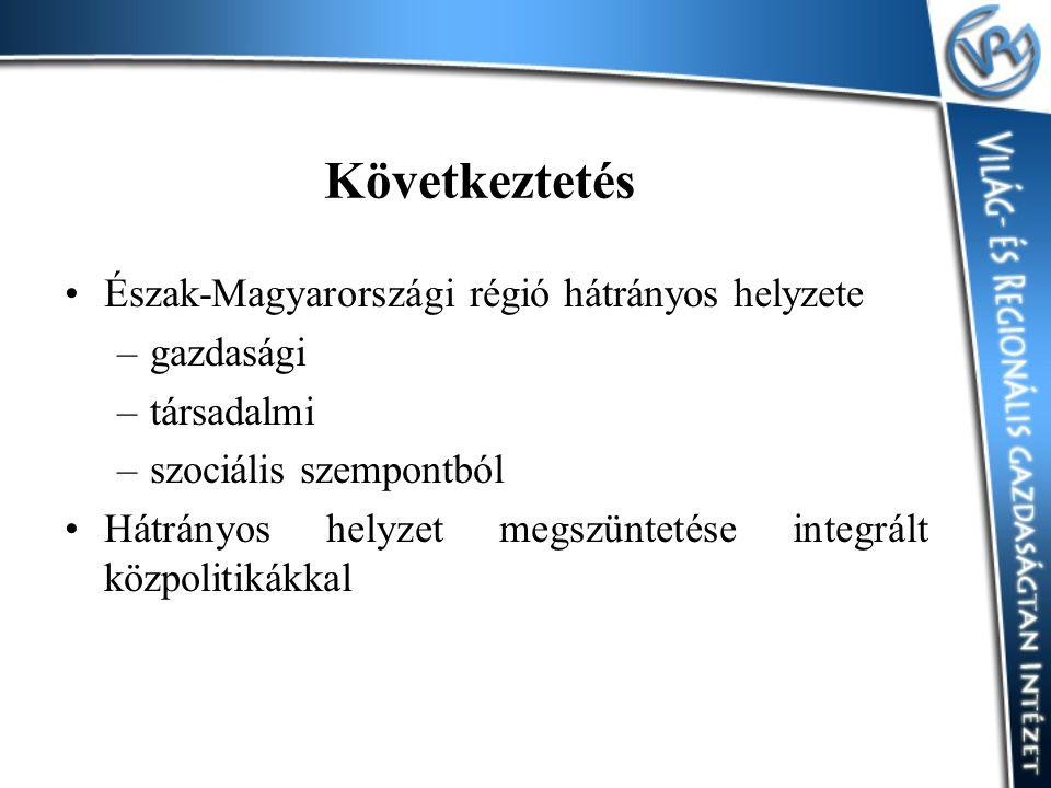 Következtetés Észak-Magyarországi régió hátrányos helyzete gazdasági