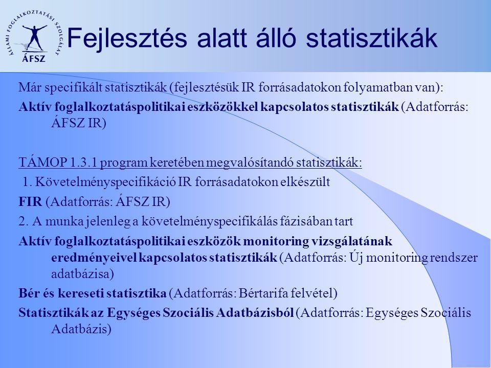 Fejlesztés alatt álló statisztikák