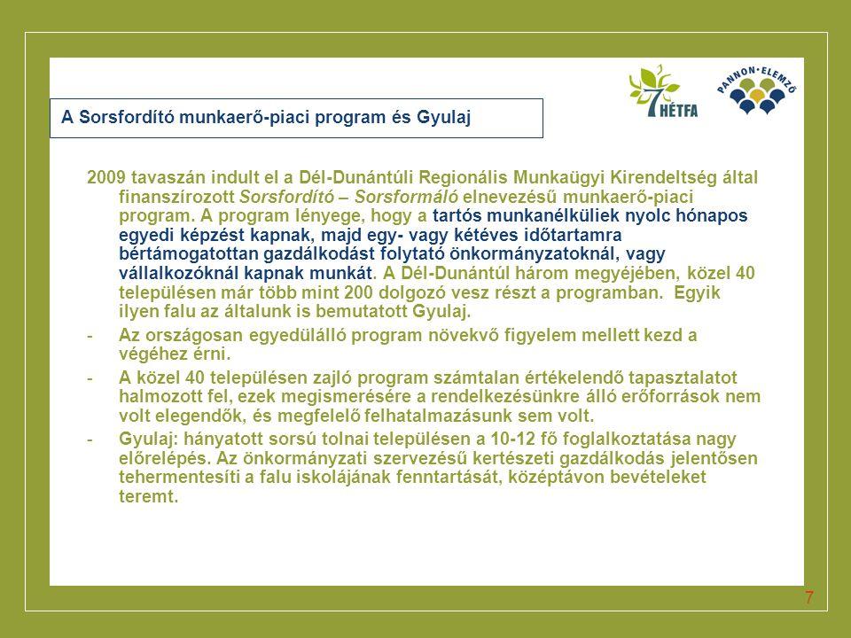 A Sorsfordító munkaerő-piaci program és Gyulaj