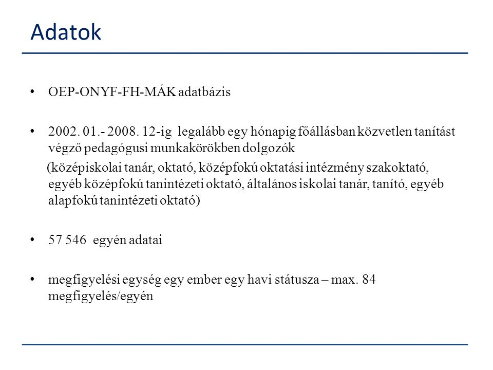 Adatok OEP-ONYF-FH-MÁK adatbázis
