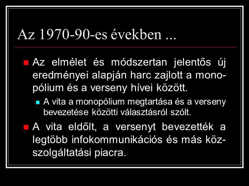 Az 1970-90-es években ... Az elmélet és módszertan jelentős új eredményei alapján harc zajlott a mono-pólium és a verseny hívei között.