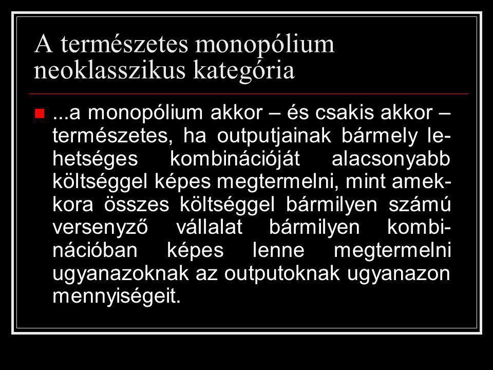 A természetes monopólium neoklasszikus kategória