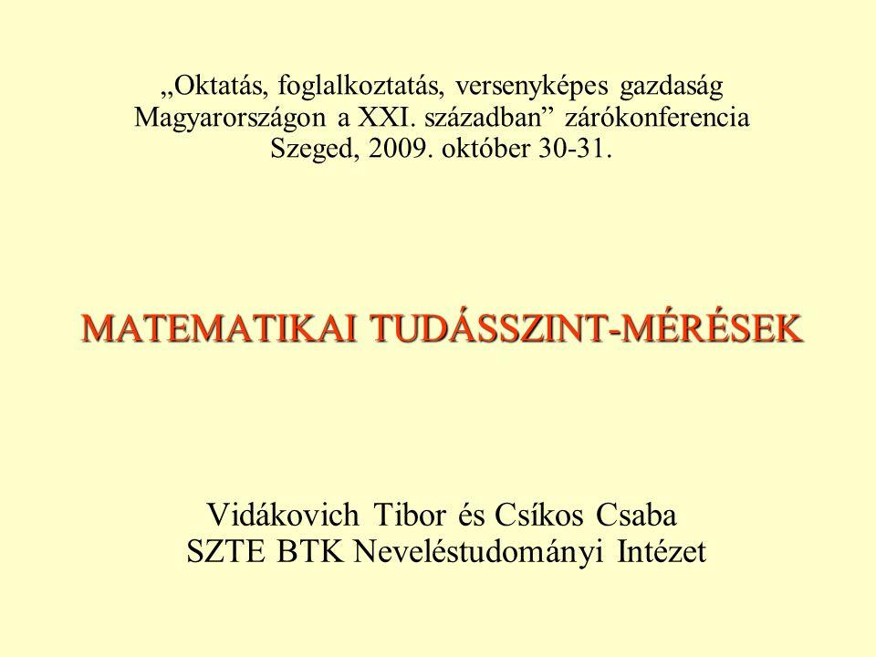 MATEMATIKAI TUDÁSSZINT-MÉRÉSEK