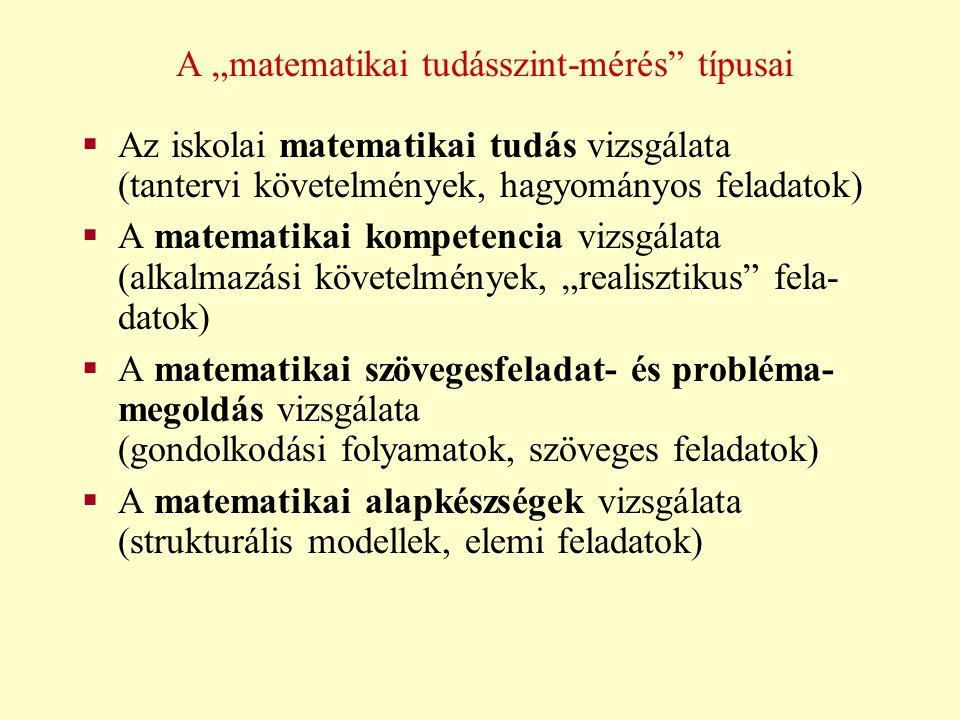 """A """"matematikai tudásszint-mérés típusai"""