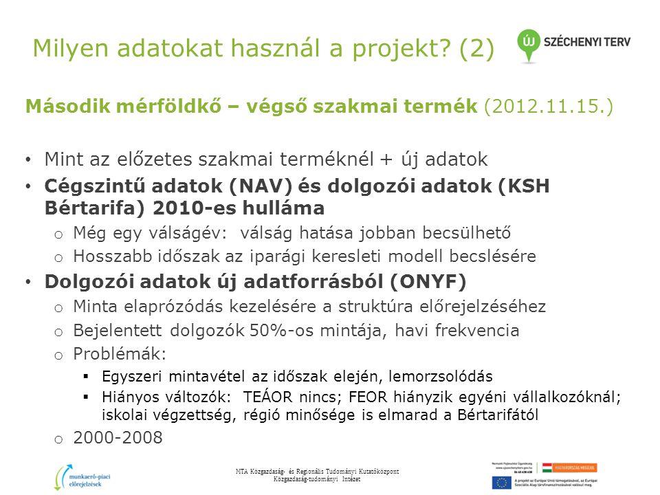 Milyen adatokat használ a projekt (2)