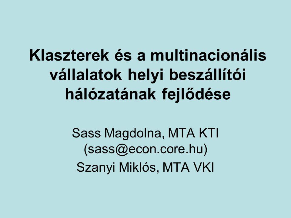 Sass Magdolna, MTA KTI (sass@econ.core.hu) Szanyi Miklós, MTA VKI