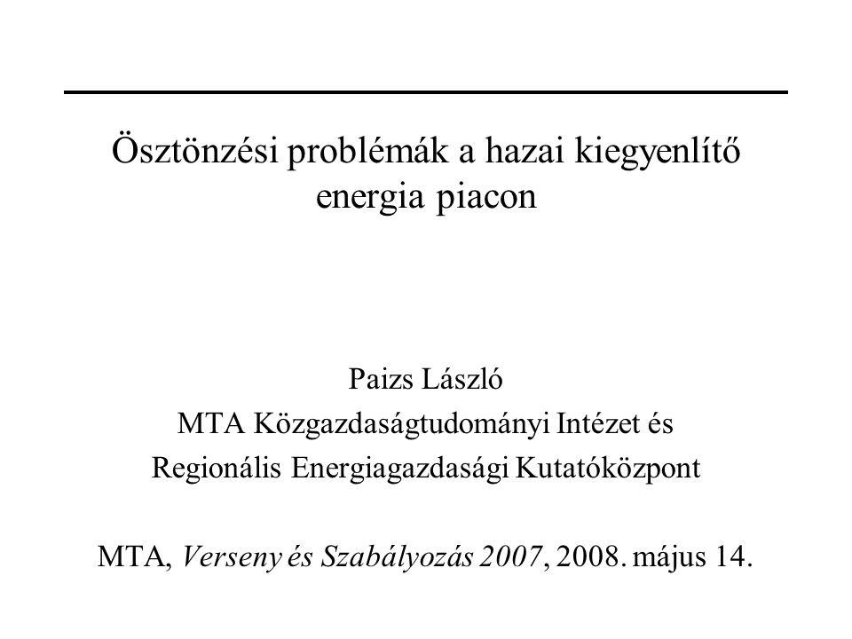 Ösztönzési problémák a hazai kiegyenlítő energia piacon