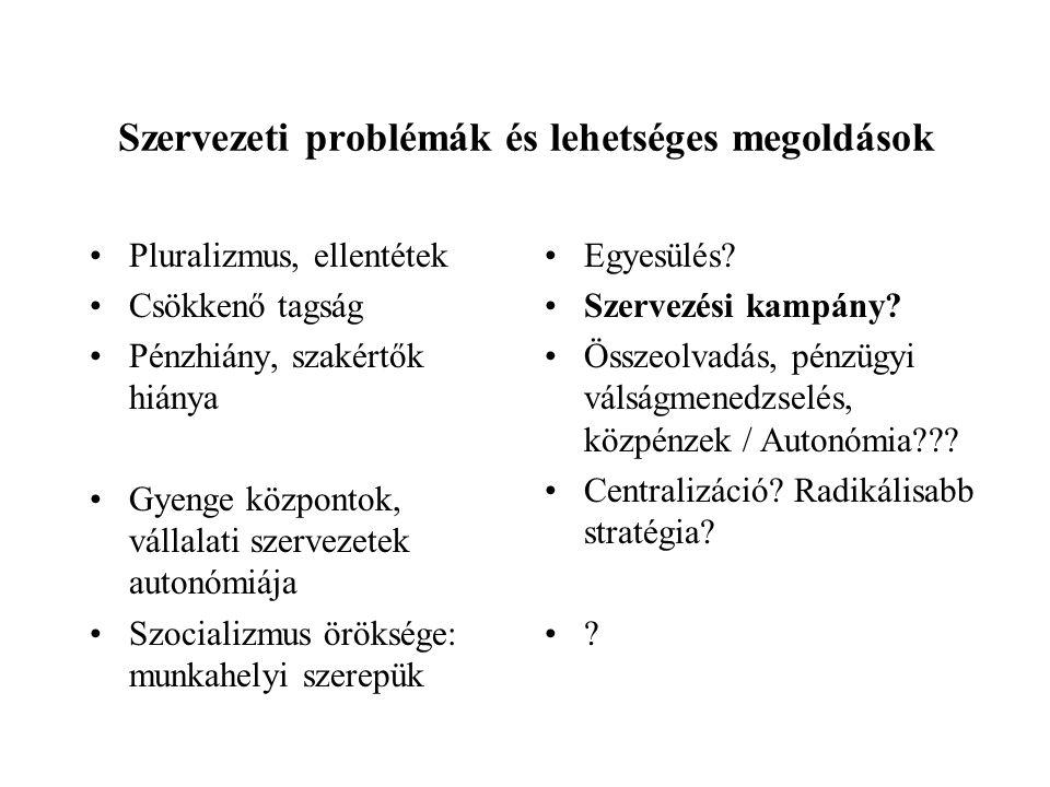 Szervezeti problémák és lehetséges megoldások