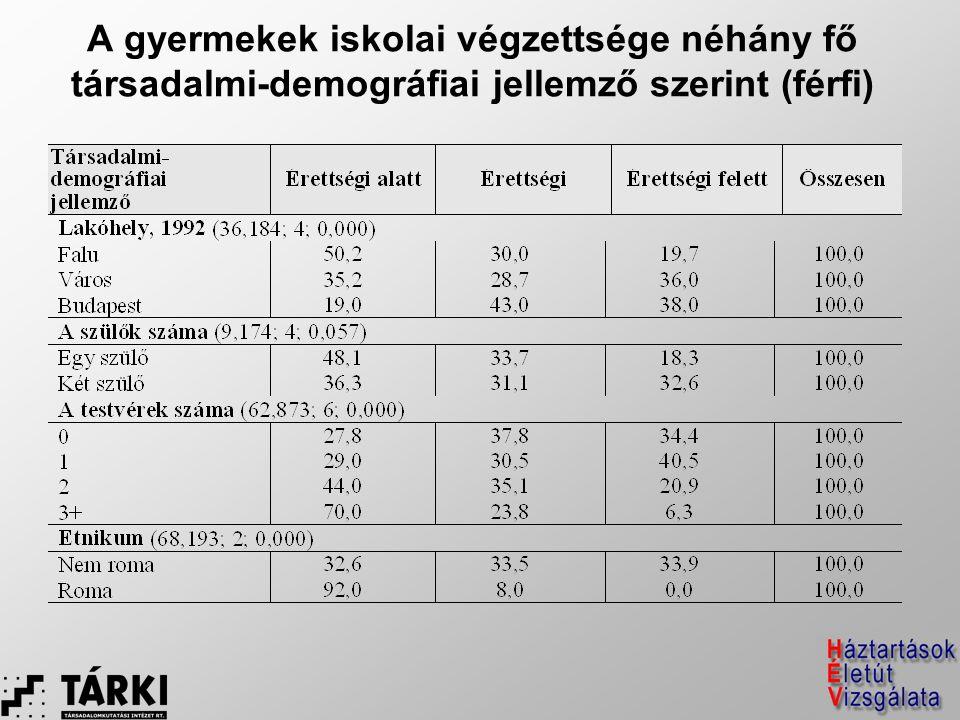 A gyermekek iskolai végzettsége néhány fő társadalmi-demográfiai jellemző szerint (férfi)