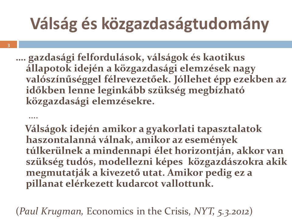 Válság és közgazdaságtudomány