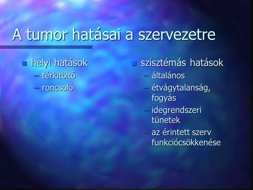A tumor hatásai a szervezetre