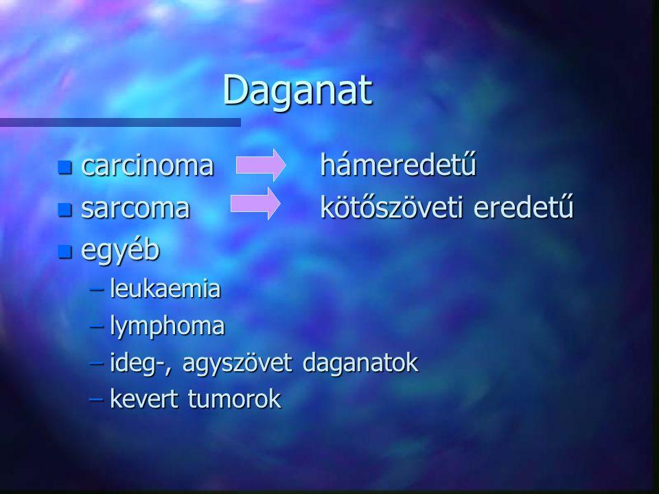 Daganat carcinoma hámeredetű sarcoma kötőszöveti eredetű egyéb