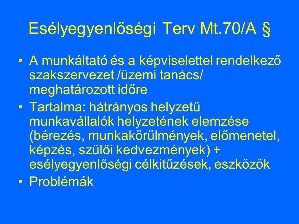 Esélyegyenlőségi Terv Mt.70/A §