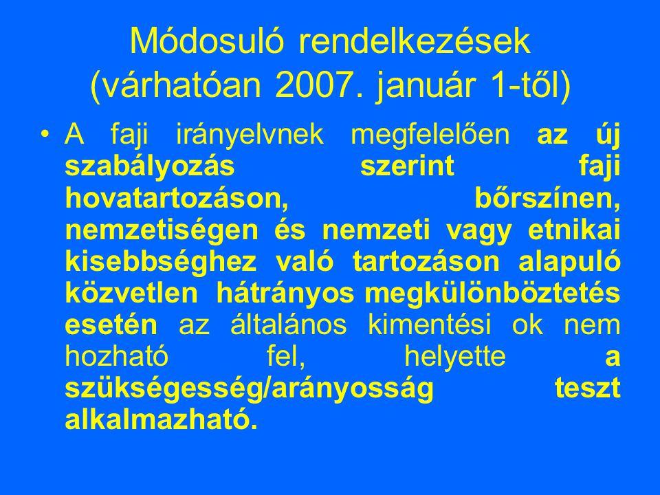 Módosuló rendelkezések (várhatóan 2007. január 1-től)