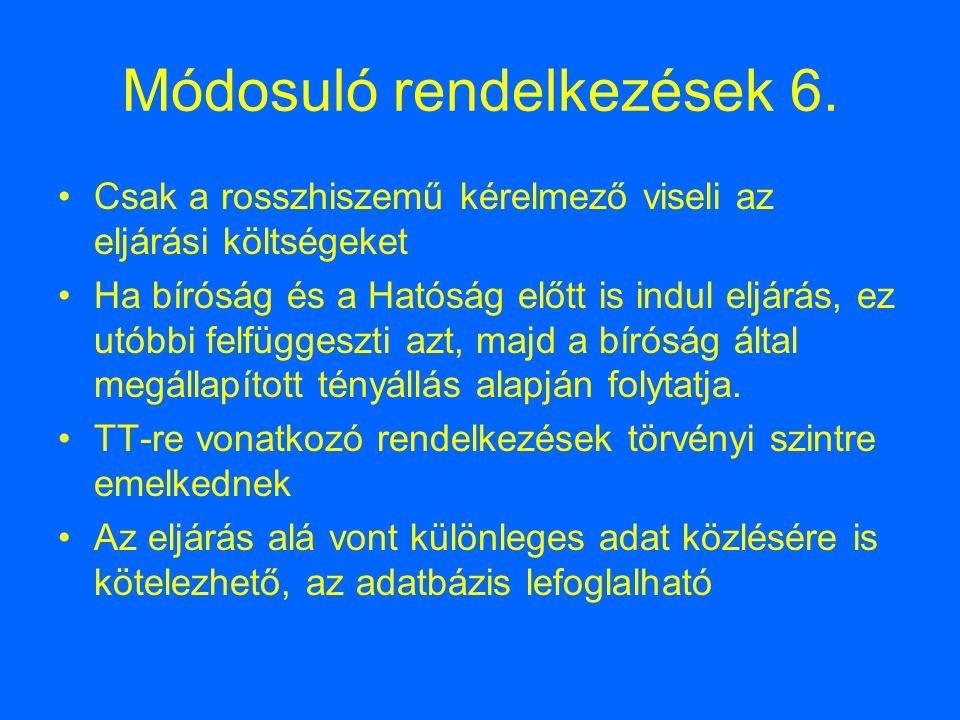 Módosuló rendelkezések 6.