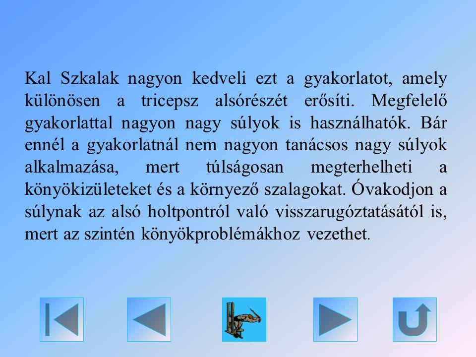 Kal Szkalak nagyon kedveli ezt a gyakorlatot, amely különösen a tricepsz alsórészét erősíti.