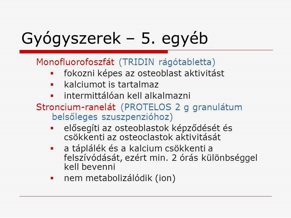 Gyógyszerek – 5. egyéb Monofluorofoszfát (TRIDIN rágótabletta)