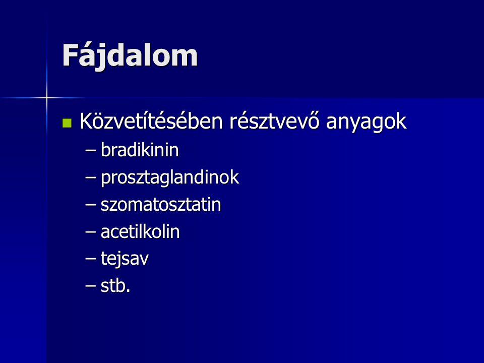 Fájdalom Közvetítésében résztvevő anyagok bradikinin prosztaglandinok