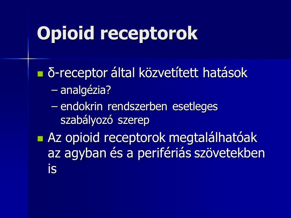 Opioid receptorok δ-receptor által közvetített hatások