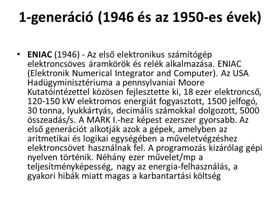 1-generáció (1946 és az 1950-es évek)