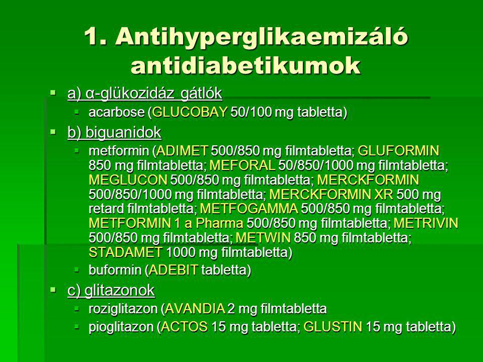 1. Antihyperglikaemizáló antidiabetikumok