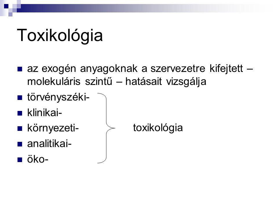 Toxikológia az exogén anyagoknak a szervezetre kifejtett – molekuláris szintű – hatásait vizsgálja.
