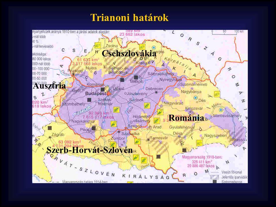 Trianoni határok Csehszlovákia Ausztria Románia Szerb-Horvát-Szlovén