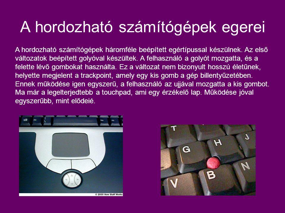 A hordozható számítógépek egerei